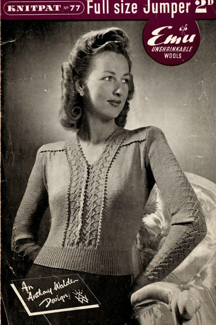 Free Knitting Pattern - 1940's larger size jumper - Knitpat 77