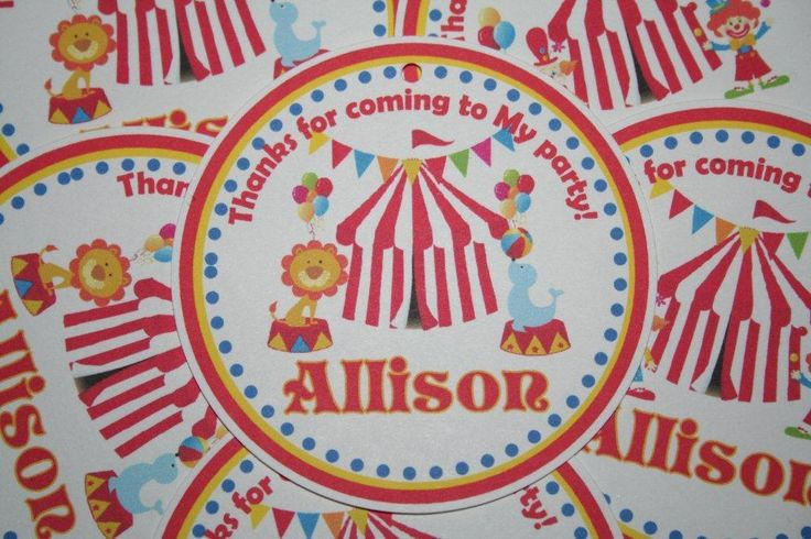 Carnival Circus Theme Party Personalized Birthday Favor Gift Tags