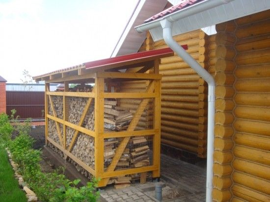 Деревянная дровница в виде навеса защитит бревна от дождя и солнца
