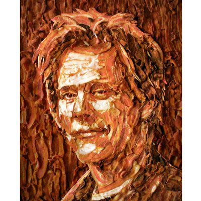 Kevin Bacon Bacon Portrait Jason Mercier Bacon  The lines created by the bacon are great on this piece of food art.  It is definitely art as it expresses the bacon craze for our time!