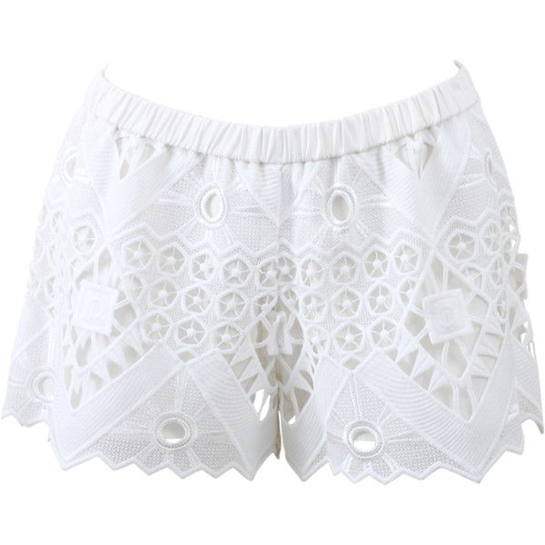 Alexis Gillian Crochet Shorts featuring polyvore, fashion, clothing, shorts, bottoms, elastic waist shorts, mid thigh shorts, slim shorts, american shorts and crochet shorts