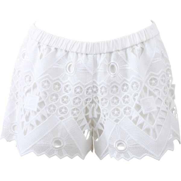 Alexis Gillian Crochet Shorts featuring polyvore, fashion, clothing, shorts, bottoms, elastic waist shorts, mid thigh shorts, slim shorts, american shorts and crochet shorts