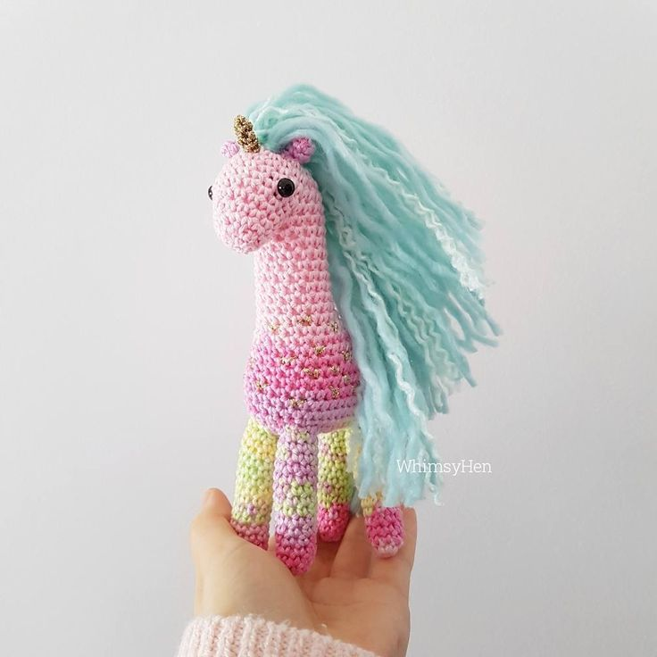 Blue hair, don't care   She's the best one so far, all my unicorn dreams are coming true   Amigurumi unicorn by WhimsyHen