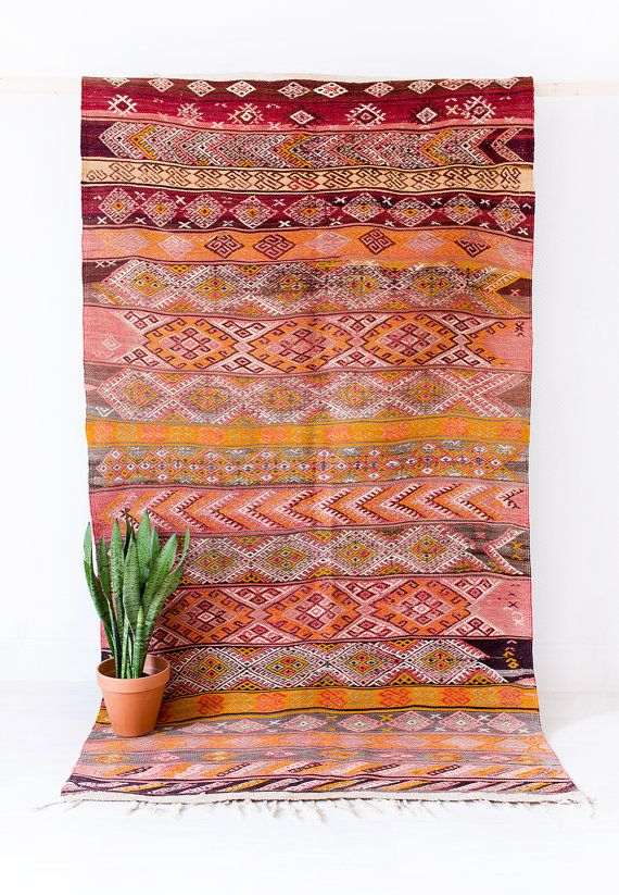 VINTAGE TURKISH KILIM RUG // THE DYLAN  using techniques passed down from…