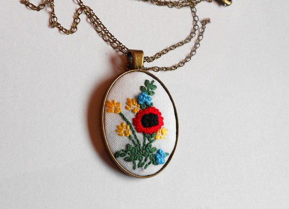 Flower necklace Hand embroidered bohemian by RedWorkStitches