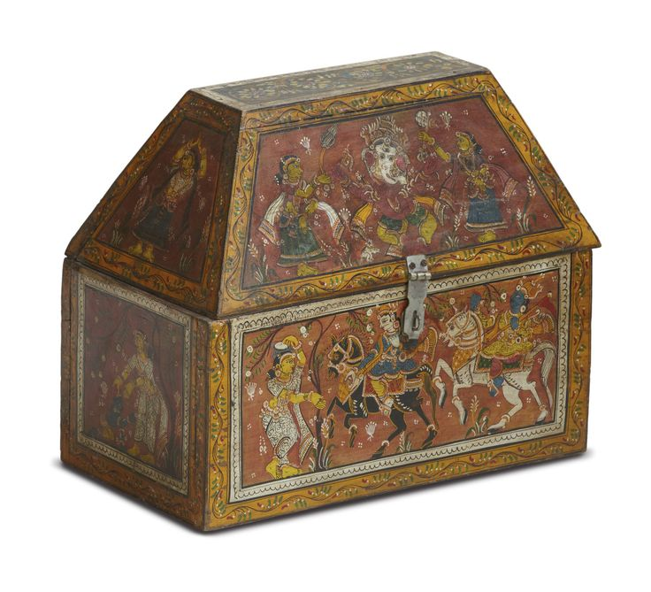 Such boxes are known as pedis in #Orissa and held the dowry given to brides during the wedding ceremony. Pedis are usually decorated with Hindu mythological scenes from or images of musicians and dancers, animals and plants. The painting is usually executed on muslin using water-based pigments.