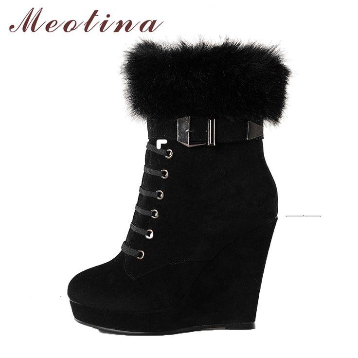 Aliexpress.com: Meotina Official Store üzerinde Güvenilir platform wedge boots tedarikçilerden Meotina ayakkabı kadın çizmeler platformu kama botlar bayanlar ayak bileği çizmeler kış zip perçinler bahar yüksek topuklu ayakkabı siyah kahverengi 34 39 Satın Alın