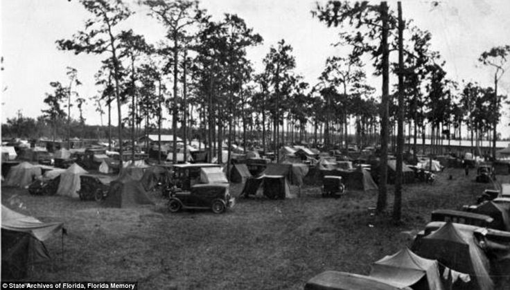 Settling in: Three thousand campers set up tents in Arcadia, Florida in 1929. The tin can tourists of the 1920s pioneered camper travel