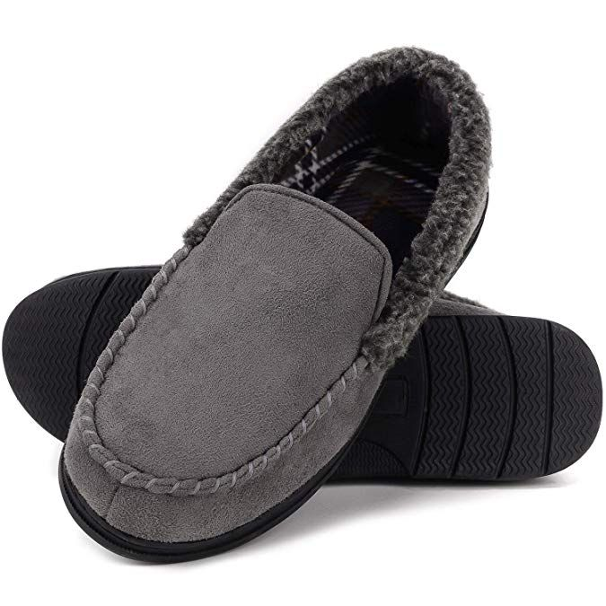 mysoft Mens Comfort Memory Foam Slippers Moccasin House Shoes Anti-Slip Sole Indoor Outdoor