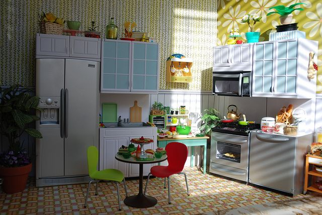 1:6 diorama barbie | DSC07611 - 1:6 scale Dollhouse Kitchen Diorama for Barbie and...
