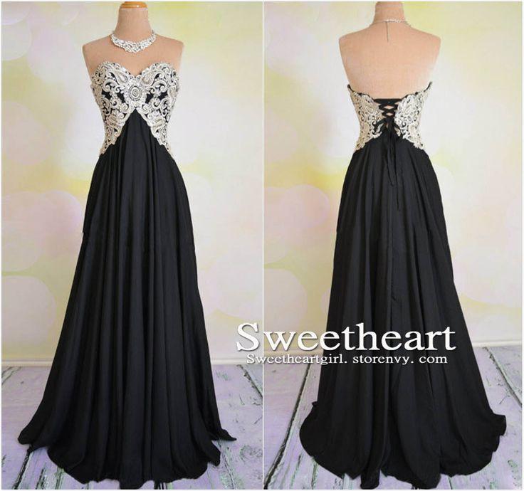 sweetheart neck long black prom dress,black evening dress