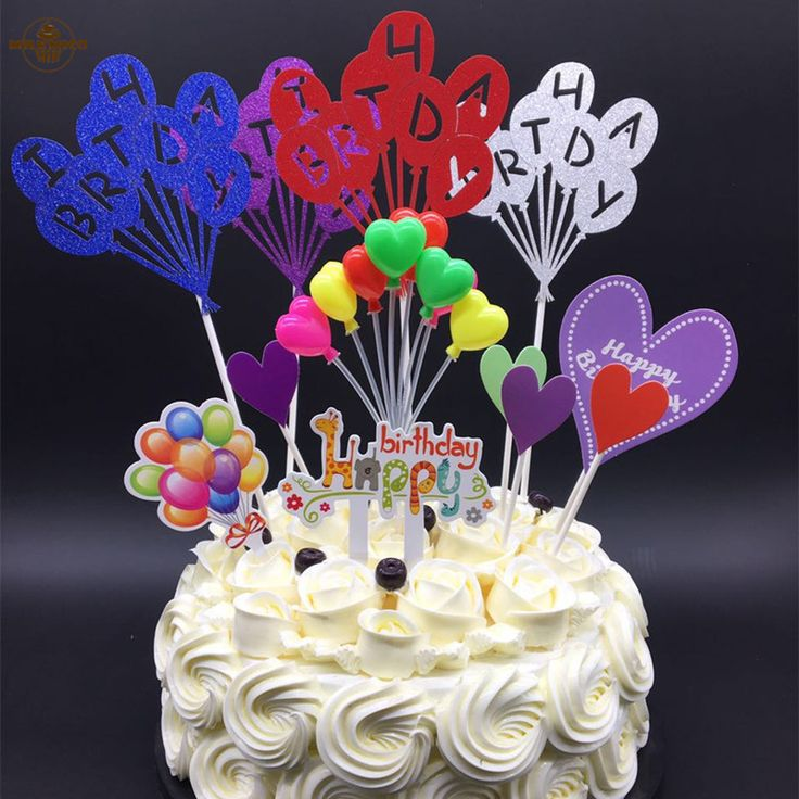 Balloon Series #Birthday Theme Cupcake Pick Kids Happy Birthday #Cupcake #Toppers For Party Wedding Decoration Cake Topper #Supplies