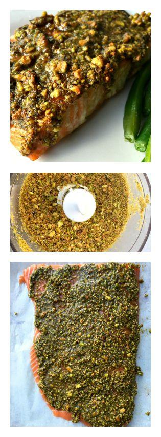 Baked Pistachio Lemon Salmon by reluctantentertainer #Salmon #Lemon #Pistachio