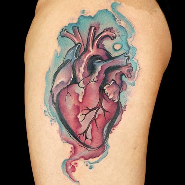 Heart watercolor tattoo by Nikki Simpson. Ink Master on Spike tv.