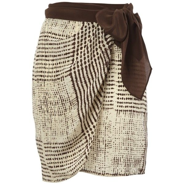 Kookai Tribal Print Silk Wrap Skirt, Brown ($92) ❤ liked on Polyvore featuring skirts, bottoms, saias, faldas, tribal skirts, wrap skirts, brown skirt, kookai skirts and silk wrap skirt