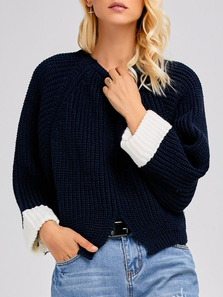 $27.49 for Color Block Batwing Sleeve Ribbed Sweater PURPLISH BLUE: Sweaters | ZAFUL