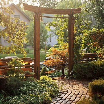 Enhance an Asian Feel  Add to Asian style with a simple arbor. Look for an arbor with clean, simple lines and a natural color. Don't make it too dramatic -- in Asian style, the simpler is usually better.
