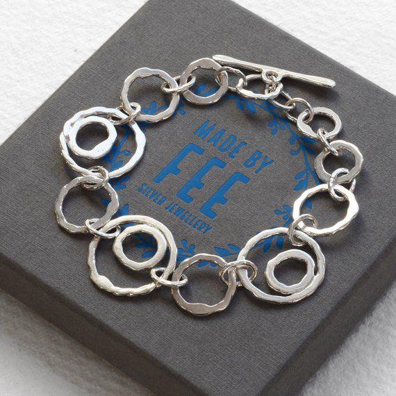 Artisan Handcrafted Vintage Indonesian Sterling Silver Linked Circles  Bracelet