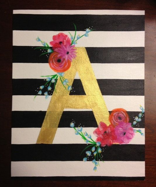 Canvas striped and floral with metallic initials