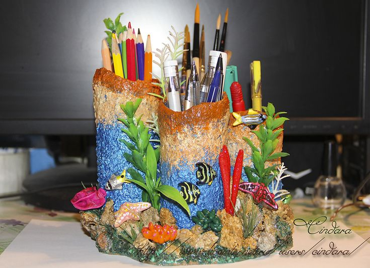 """Подставка под карандаши и ручки """"Коралловый риф"""" + небольшой МК.  Доброго времени суток ,мои милые друзья! Сегодня опять хочу отнять от Вас немножечко вашего времени(если вам конечно, будет интересно…"""