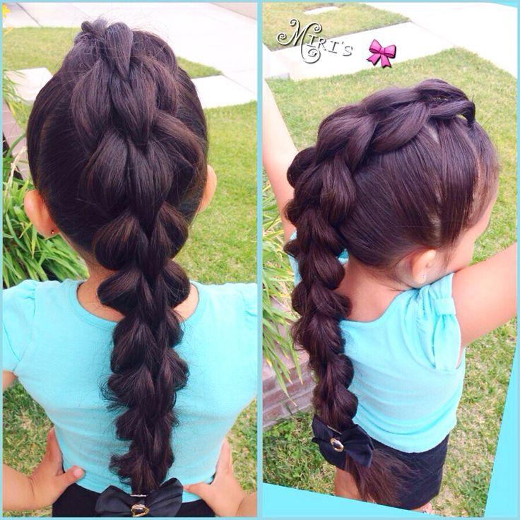 3 strand pull through hair style for little girls