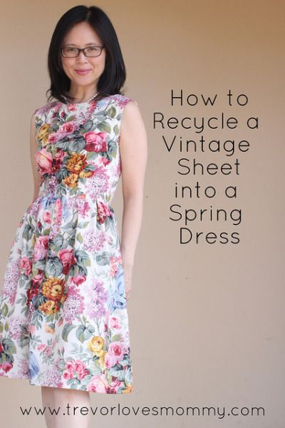 Recycle a vintage bed sheet into a spring dress. I used Christine Hayne's Emery pattern to upcycle a sheet into a vintage inspired dress.