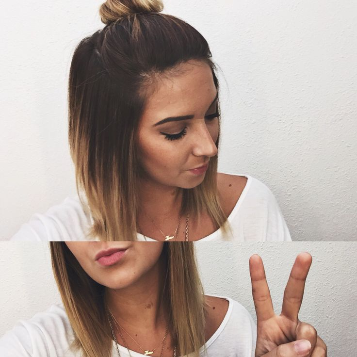 Short ombré hair, top knot bun.