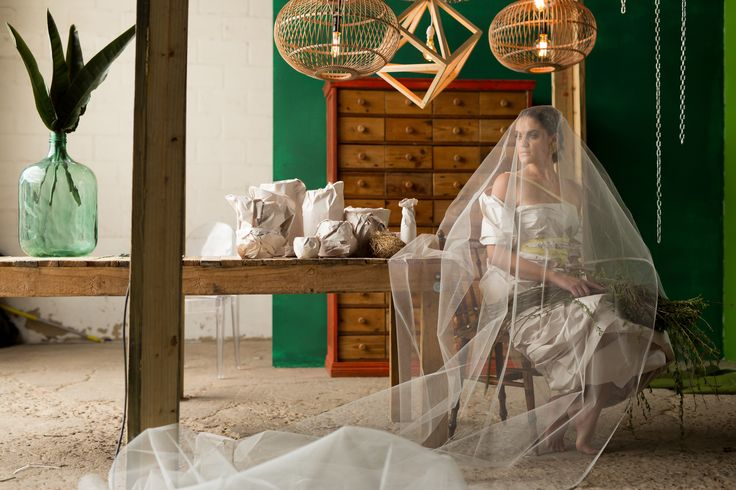 We did a greenhouse inspired shoot with raw furniture and geometric lights | photo by joe.dan photography