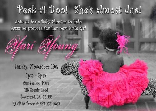 Baby Shower Invitation DIGITAL FILE   TuTu And Leopard Or Zebra Chair   Please Scroll Down And Read Below For Ordering/Printing Instructions