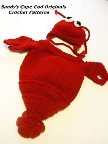 lobster baby cocoon with little lobster claw mittens!