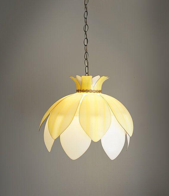 Vintage Plastic Flower Hanging Lamp Light Fixture Yellow Pendant