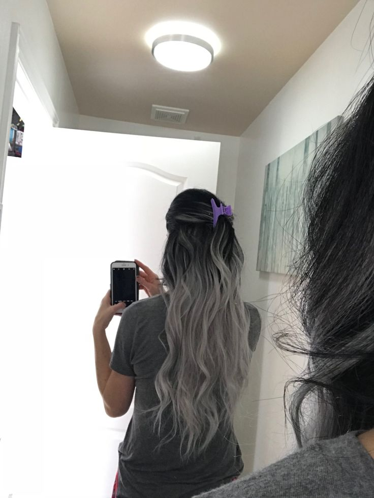 Ombre black and grey  Extensions Itips 22 inches