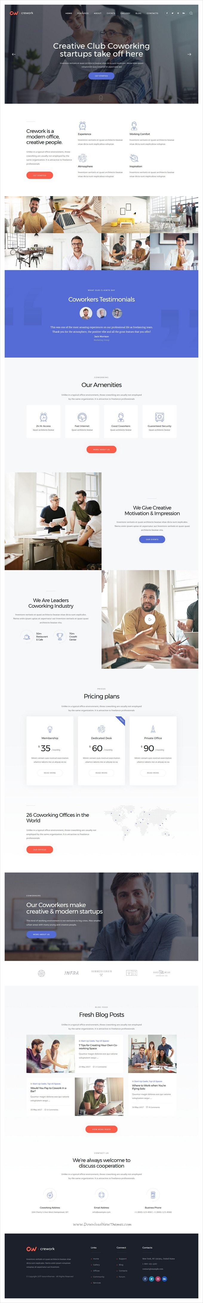 Crework is clean and modern design 3in1 responsive #WordPress theme for creative #coworking, open office, workshop and #conferences website download now..