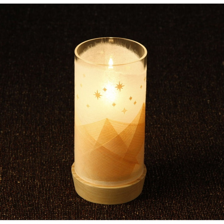 坂本尚世 吉野桧ランプセット「山+星」 10080yen 本物の炎の揺らめきとロマンチックな星空に癒される