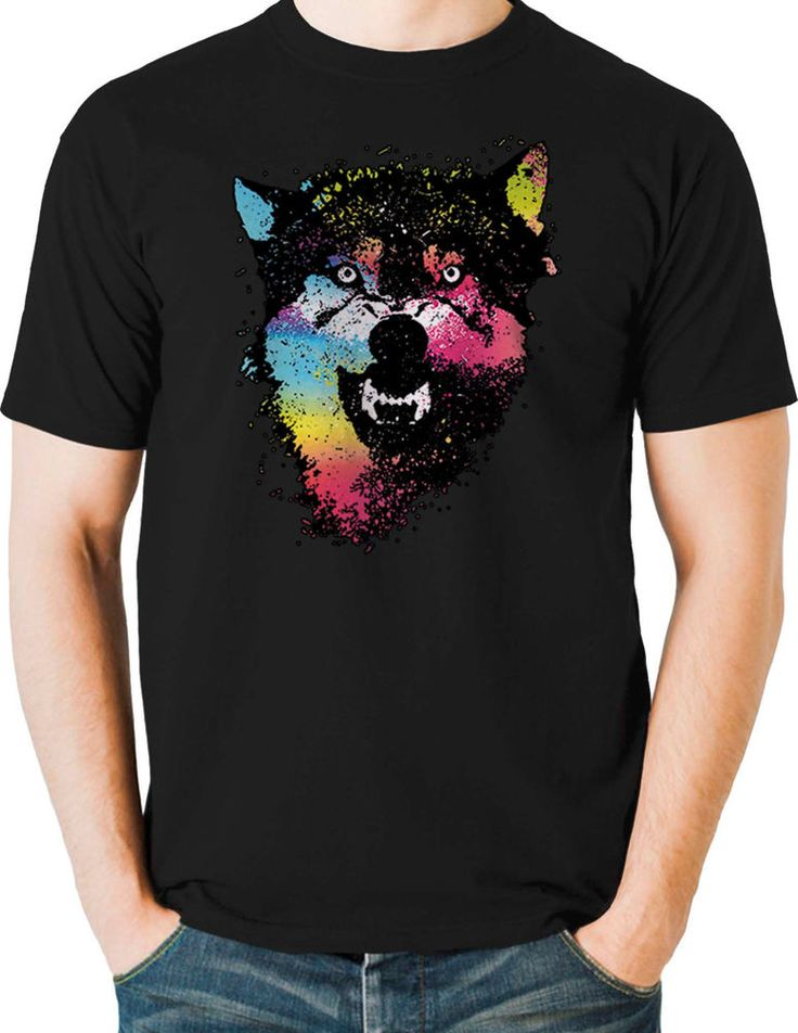 Growling Wolf T Shirt Neon Colorful Wild Howling Mens Small to 6XL & Big Tall #TShirtsRule #GraphicTee