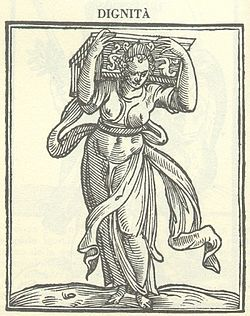 """Woodblock prints of the Cornucopia appear throughout several volumes of books published by Cesare Ripa (1560-1622). Ripa was an Italian aesthetician who was knighted after his book Iconologia (translation: """"Moral Emblems"""") was published"""