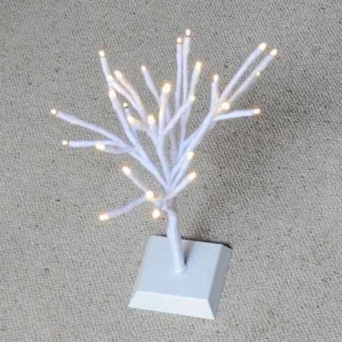 White Tree Wrapped in Wool with LED Lights by HandmadeByNehaBajaj
