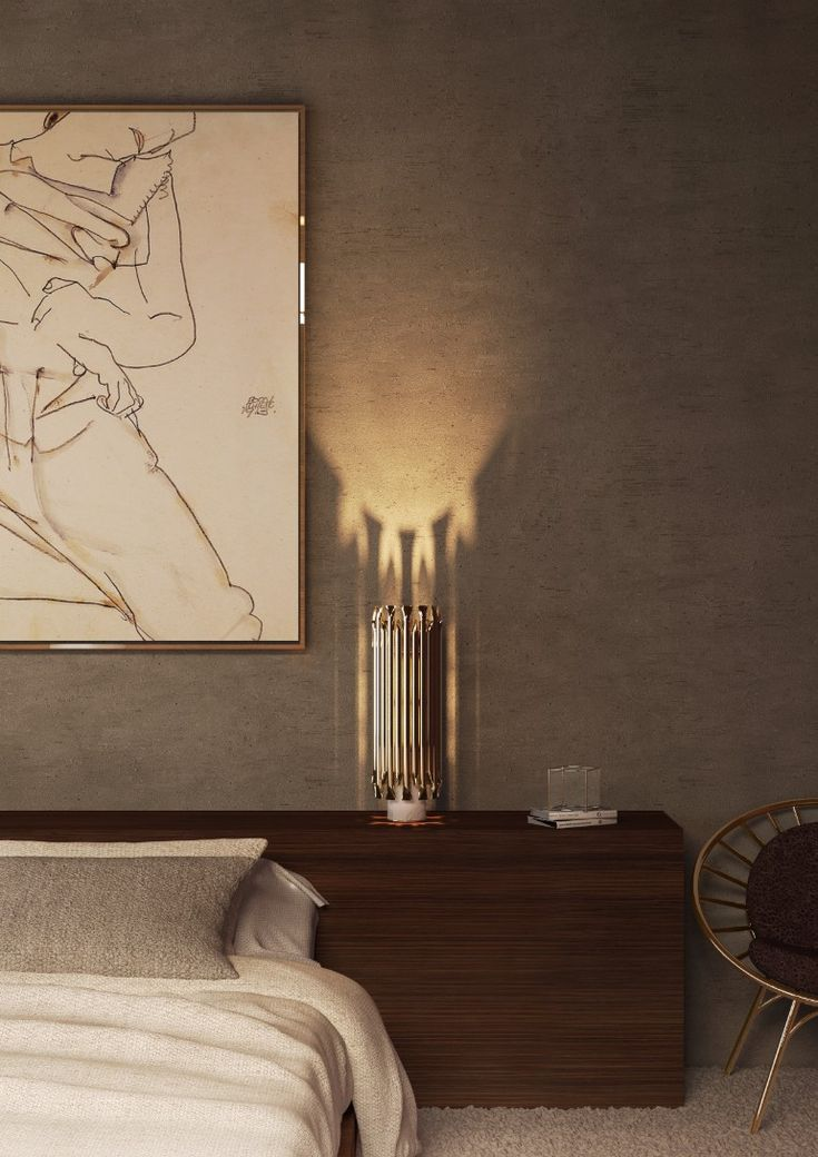 Mid-century table lamp for the modern master bedroom | www.masterbedroomideas.eu #bedrooms #bedroomideas #modernbedroom #nightstands #modernnightstands #nightstandsideas #bedsidetables