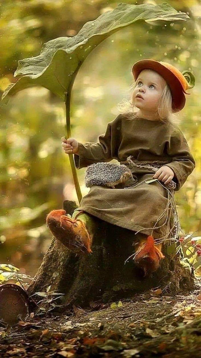 Die Kinder spielen im Wald. Freude