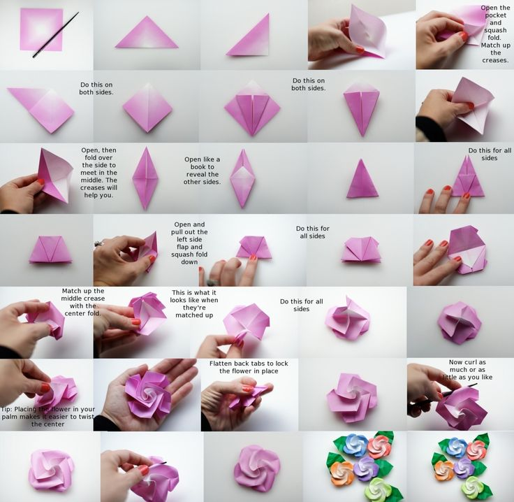 Origami roses bird base how to make origami flowers for How to make a paper rose origami