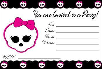 Monster High Invite, Monster High, Invitations - Free Printable Ideas from Family Shoppingbag.com