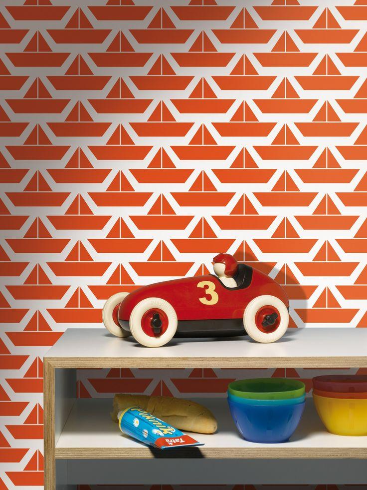 rode bootjes kinderbehang - Funky Walls - Dé webshop voor vintage en modern behang