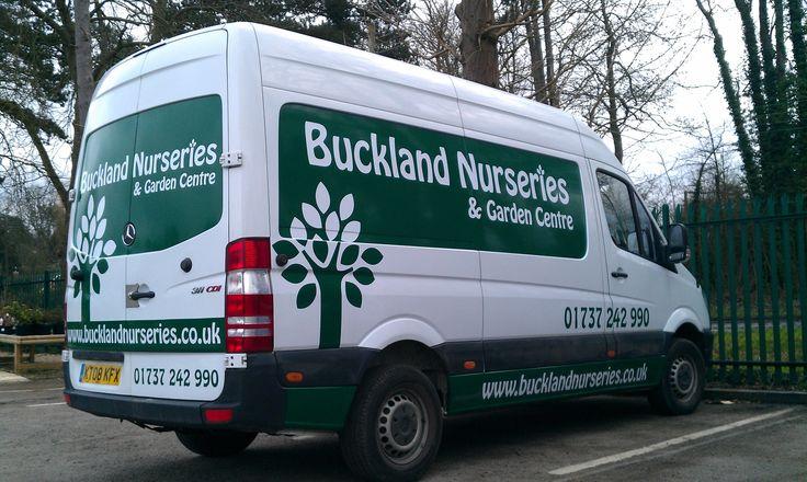 Buckland Nursery Mercedes sprinter van with just green vinyl.