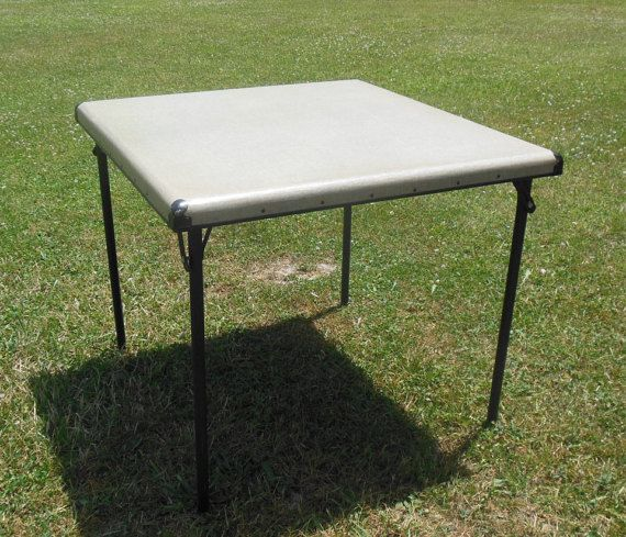Unique Vintage King Card Table - Folding Portable Retro Industrial Poker Table - Vintage Mid-Century Modern Furniture  This may be a great chance to own a one of a kind vintage card table. I cant locate any other examples of this table available for sale today or any examples period on the internet. This has sort of an industrial look to it with the rivets and it folds up easily and is pretty lightweight. Check out the rest of my listings at www.etsy.com/shop/fromthefingerlakes for more…