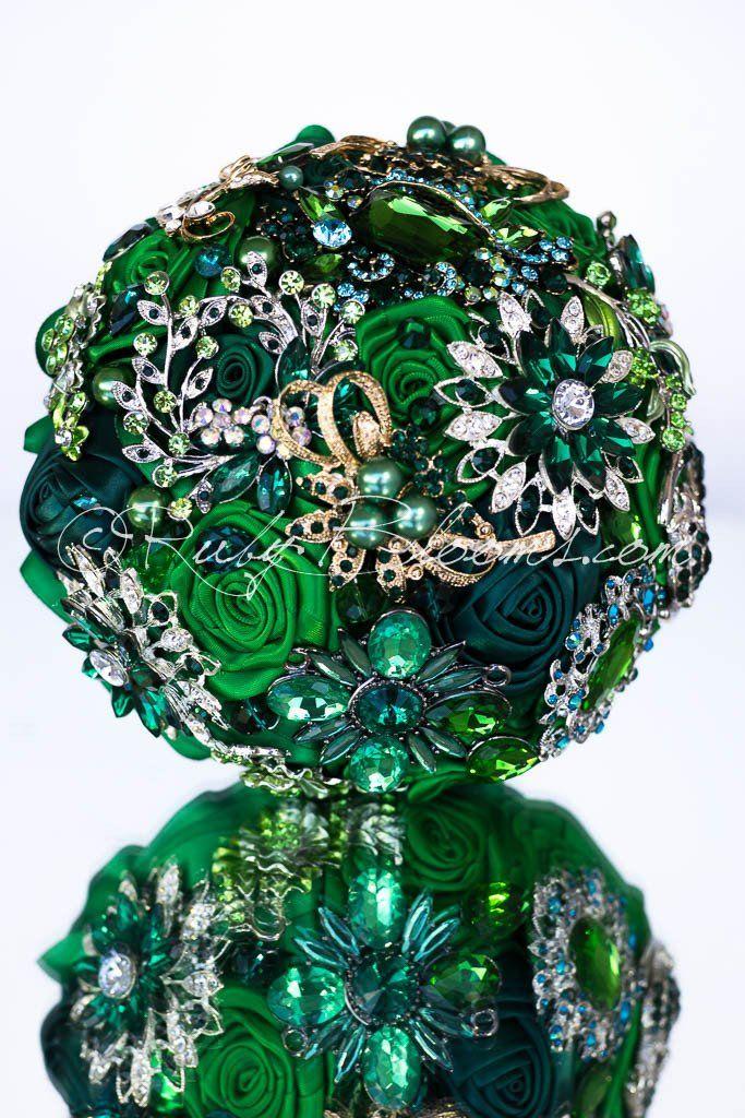 Rhinestone Wedding brooch bouquet Green Zero