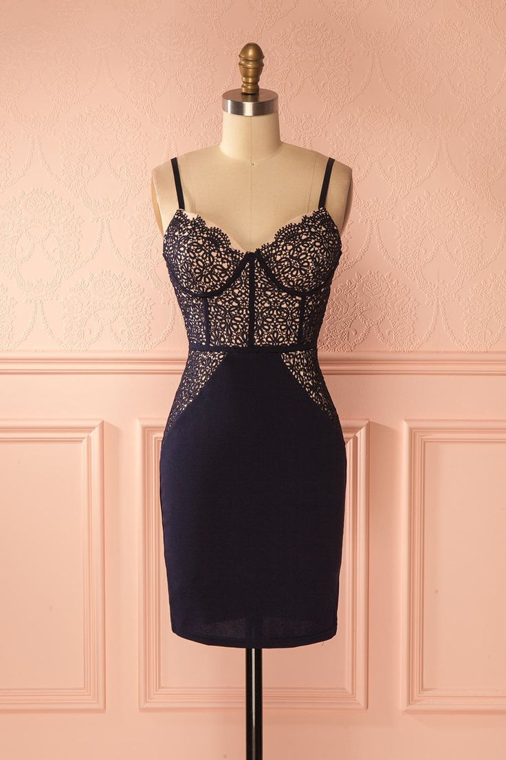 Navy blue fitted lace cocktail dress - Robe cocktail de dentelle bleu marine ajustée