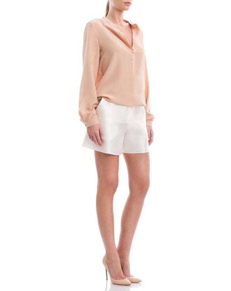 Silk-cotton-blend large shorts