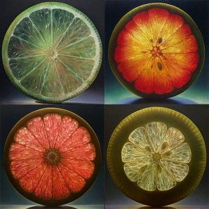 I like this image because of the luminous colours and transparent images of the fruit. I also like the  image of four slices of fruit as it shows variety in colours and textures.