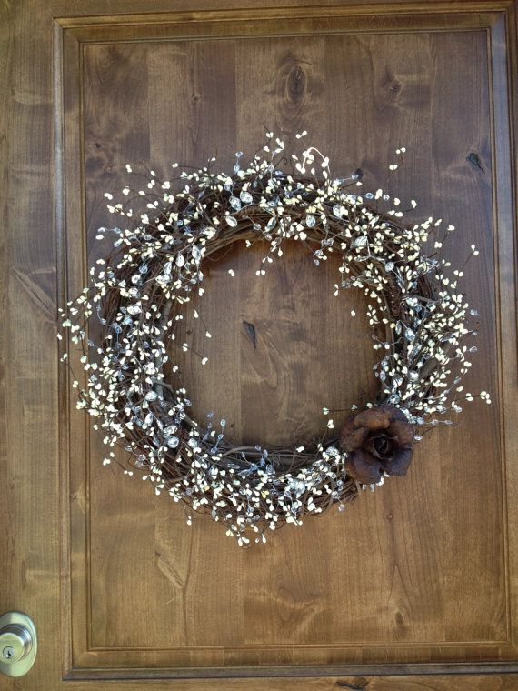 Handcrafted Decorative Door Wreath - Rustic metal rose, crystal clear beaded garland, rustic wire, grape vine wreath, silver wire, mirrored teardrop garland and ivory pip rice garland.