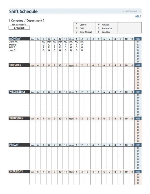 employee shift schedule template at http\/\/wwwxltemplatesorg - shift schedule template